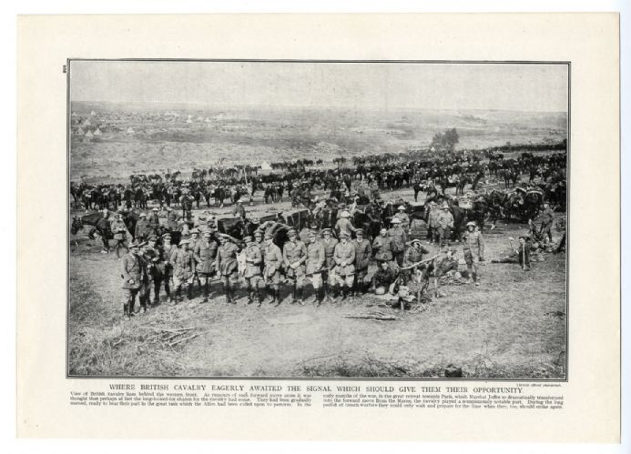1916 WW1 War Print BRITISH CAVALRY Western Front OFFICERS MEN HORSES Gas Attack Practice